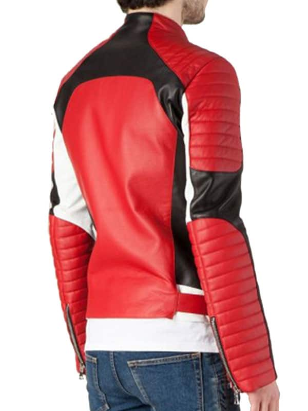 Quilted Sleeves Biker Leather Red Jacket