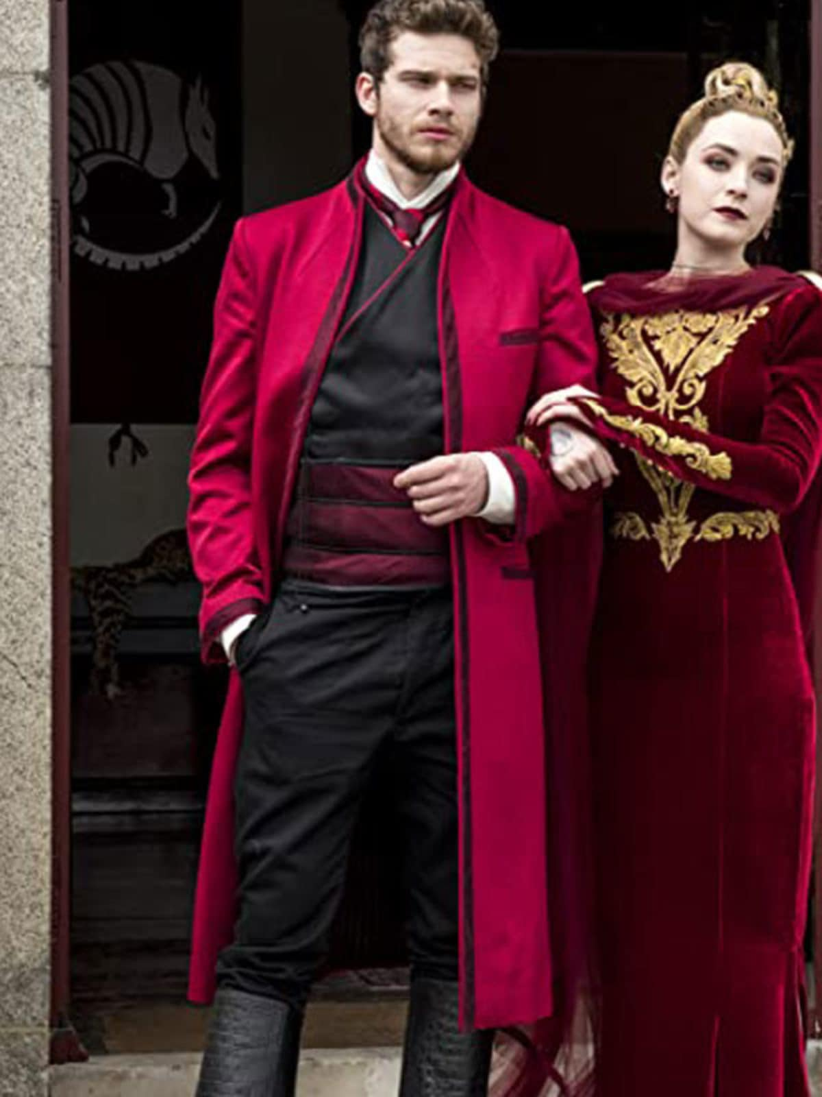 Red Trench Coat worn by Oliver Stark Into the Badlands Tv Series