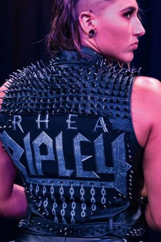 Rhea Ripley WWE Black Studded Leather Vest