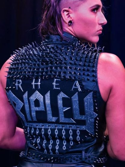 Rhea Ripley WWE Black Studded Leather Vest