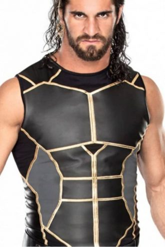 Seth Rollins WWE Black Slimfit Leather Vest