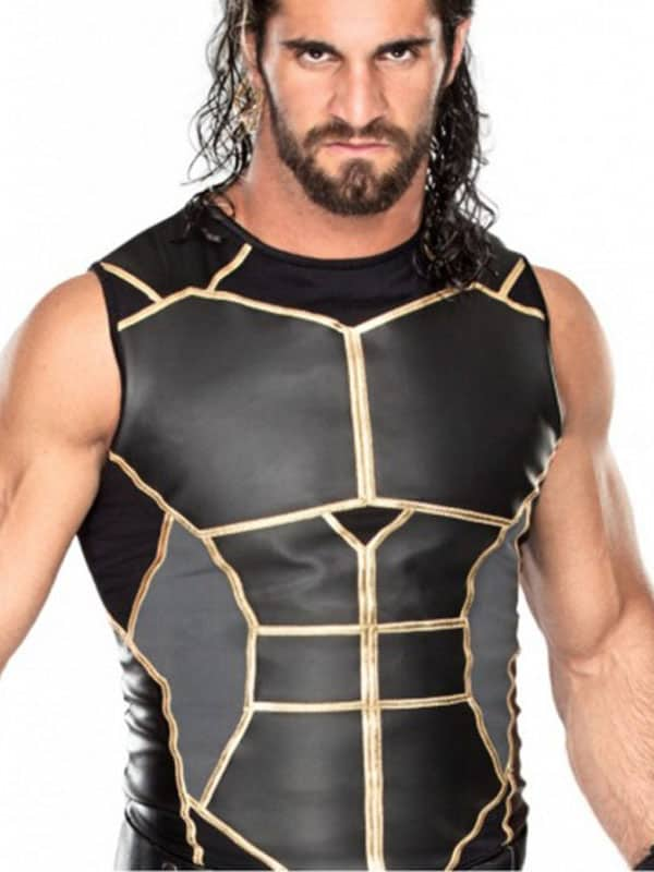 Seth Rollins WWE Black Slimfit Leather Vest