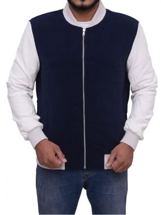 Baby Driver Ansel Elgort Bomber Grey and Blue Varsity StyleJacket