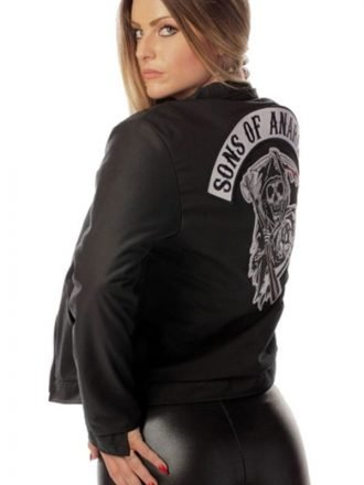 Black Biker Style Women Sons of Anarchy Jacket