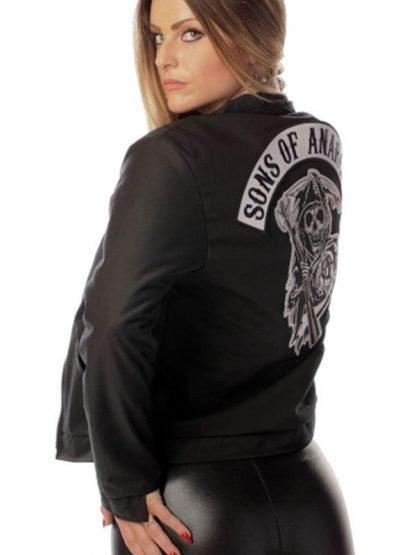 Black Biker Style Women Sons of Anarchy Jacket