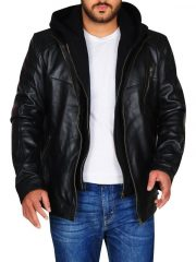 Black Hooded Leather Jacket worn by Jay Halstead in TV Series Chicago P.D.