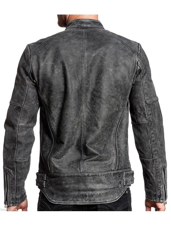 Distressed Wax Men Biker Vintage Cafe Racer Leather Jacket
