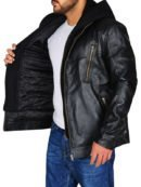 Jay Halstead TV Series Chicago P.D. Black Leather Jacket with Hood