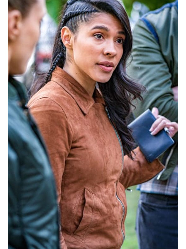 Tv Series Chicago P.D. Lisseth Chavez Brown Suede Leather Jacket