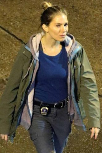 21 Bridges Sienna Miller Green Hooded Jacket