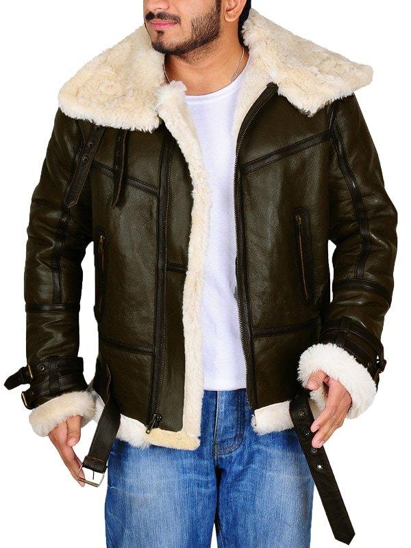 Army Green Bomber Shearling Jacket