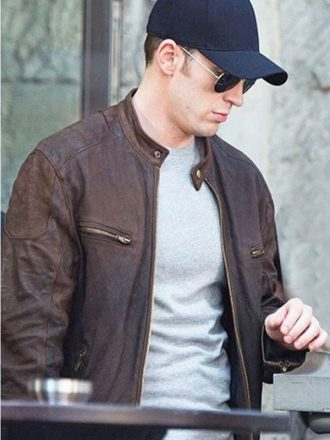 Captain America Civil War Chris Evans Brown Leather Jacket