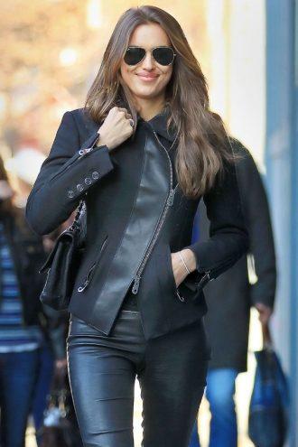 Irina Shayk Black Leather Jacket