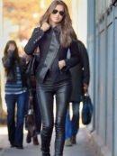 Irina Shayk Stylish Black Zip Up Leather Jacket