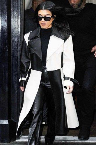 Kourtney Kardashian Black And White Leather Coat