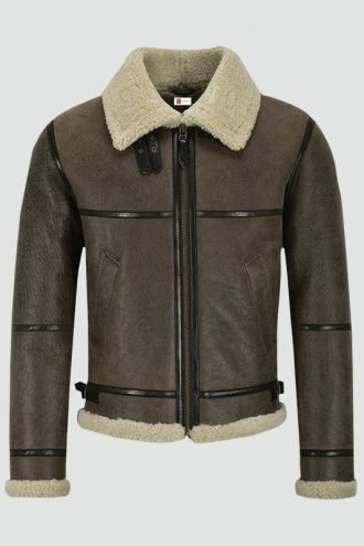 Mens Air Force Shearling Brown Leather Jacket