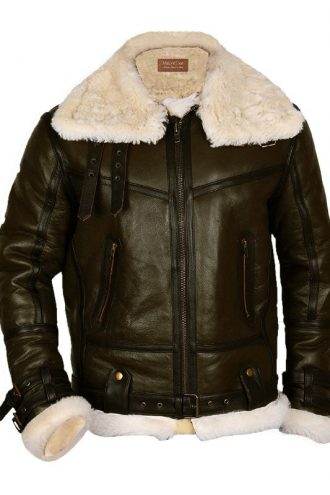 Mens Army Green Bomber Leather Jacket