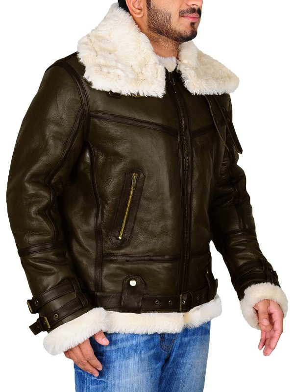 Mens Army Green Leather Jacket