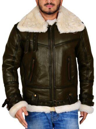 Mens Army Green Shearling Jacket