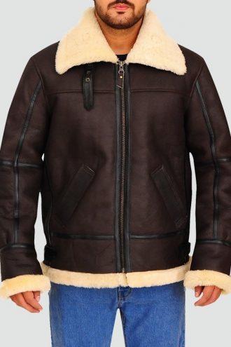 Mens Aviator Bomber Leather Jacket