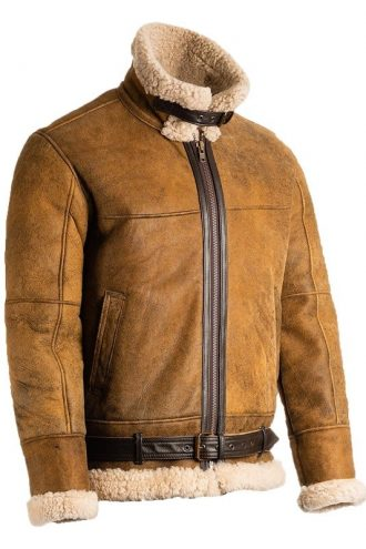 Mens B3 Shearling Brown Lether Jacket