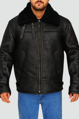 Mens Black Aviator Bomber Jacket
