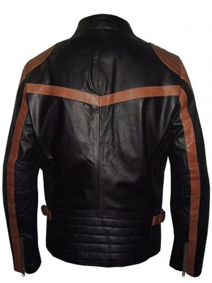 Mens Black Motorbike Leather Jacket With Brown Strips