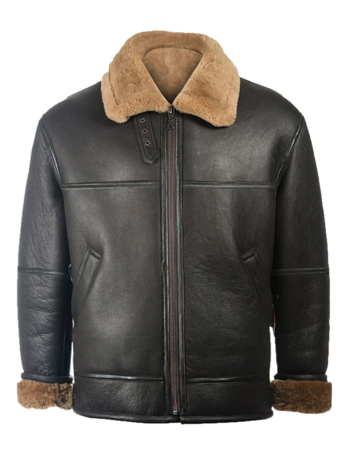 Mens Black Shearling Aviator Leather Jacket