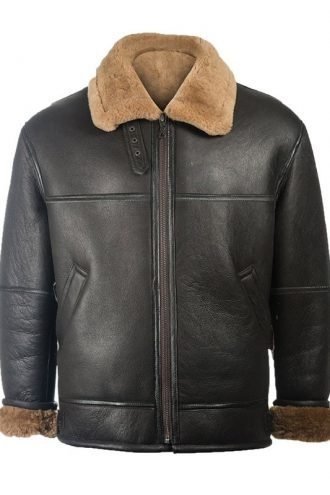 Mens Black Shearling Aviator Leather Jacket
