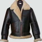 Mens Black Shearling B3 Flying Leather Jacket