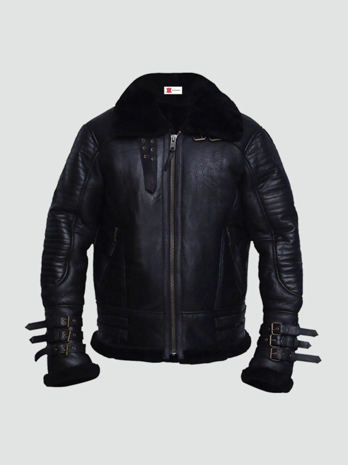 Mens Black Shearling Biker Leather Jacket