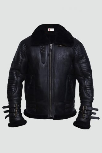 Mens Black Shearling Biker Leather Jacket