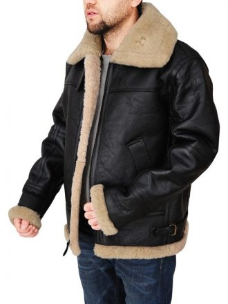 Mens Black Sheepskin Leather Jacket