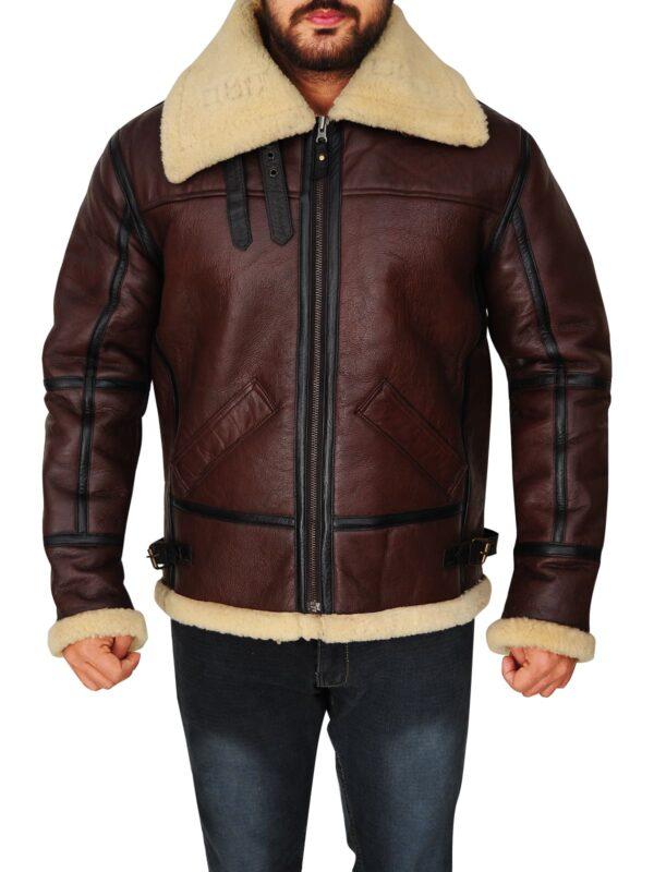 Mens Brown Bomber Leather Jacket