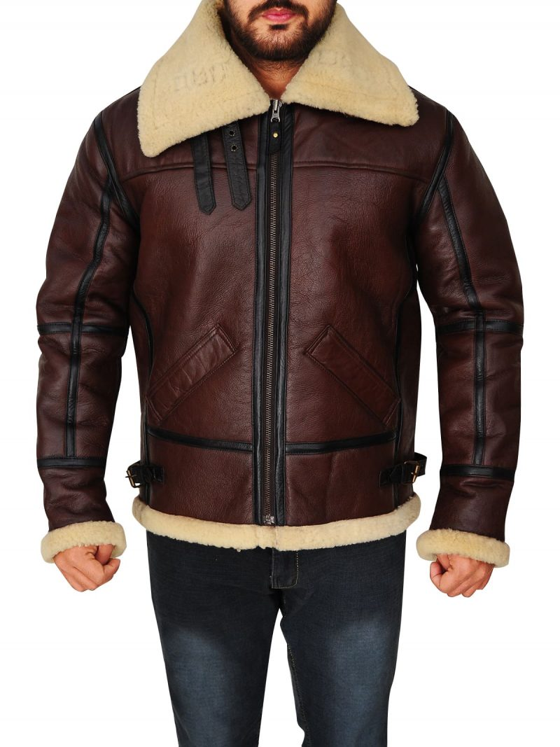 Mens Brown Bomber Leather Jacket