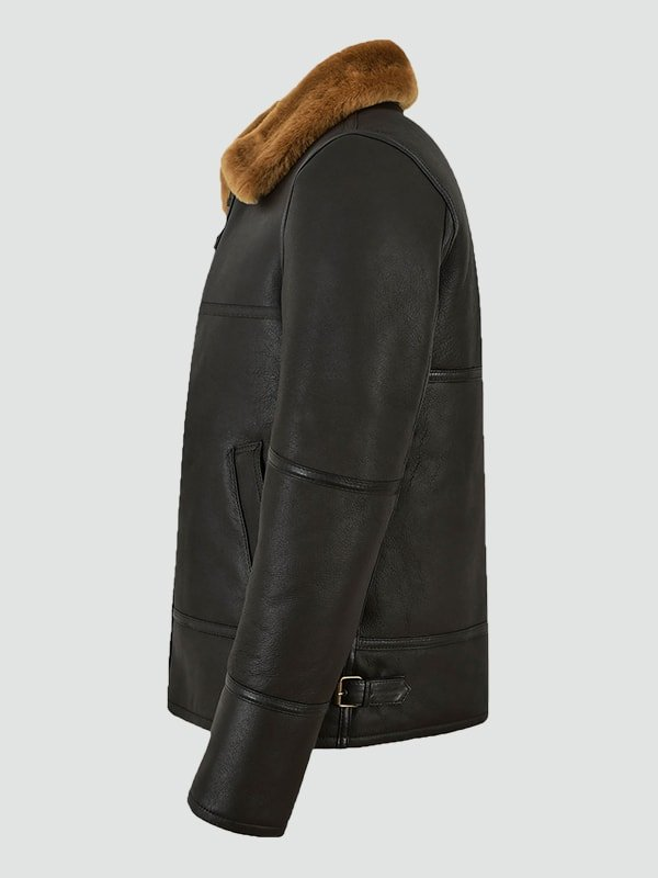 Mens Brown Shearling Leather Jacket