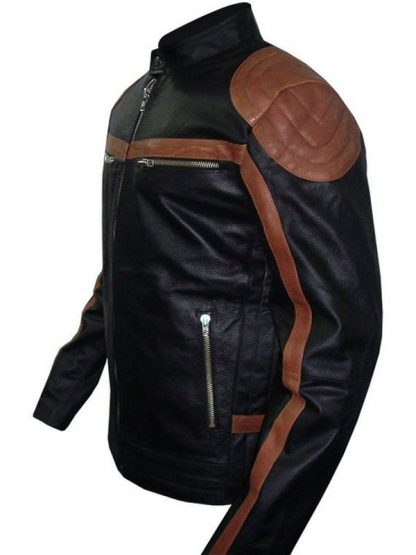 Mens Brown Strips Leather Jacket