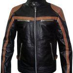 Mens Brown Strips Motorbike Leather Jacket