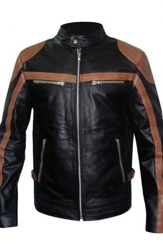 Mens Brown Strips Motorbike Leather Jacket