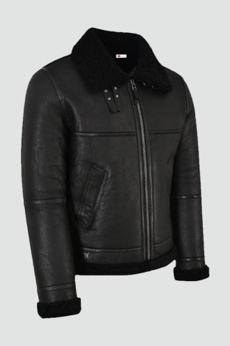 Mens Jet Black Leather Jacket