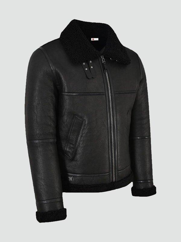 Mens Jet Black Leather Jacket
