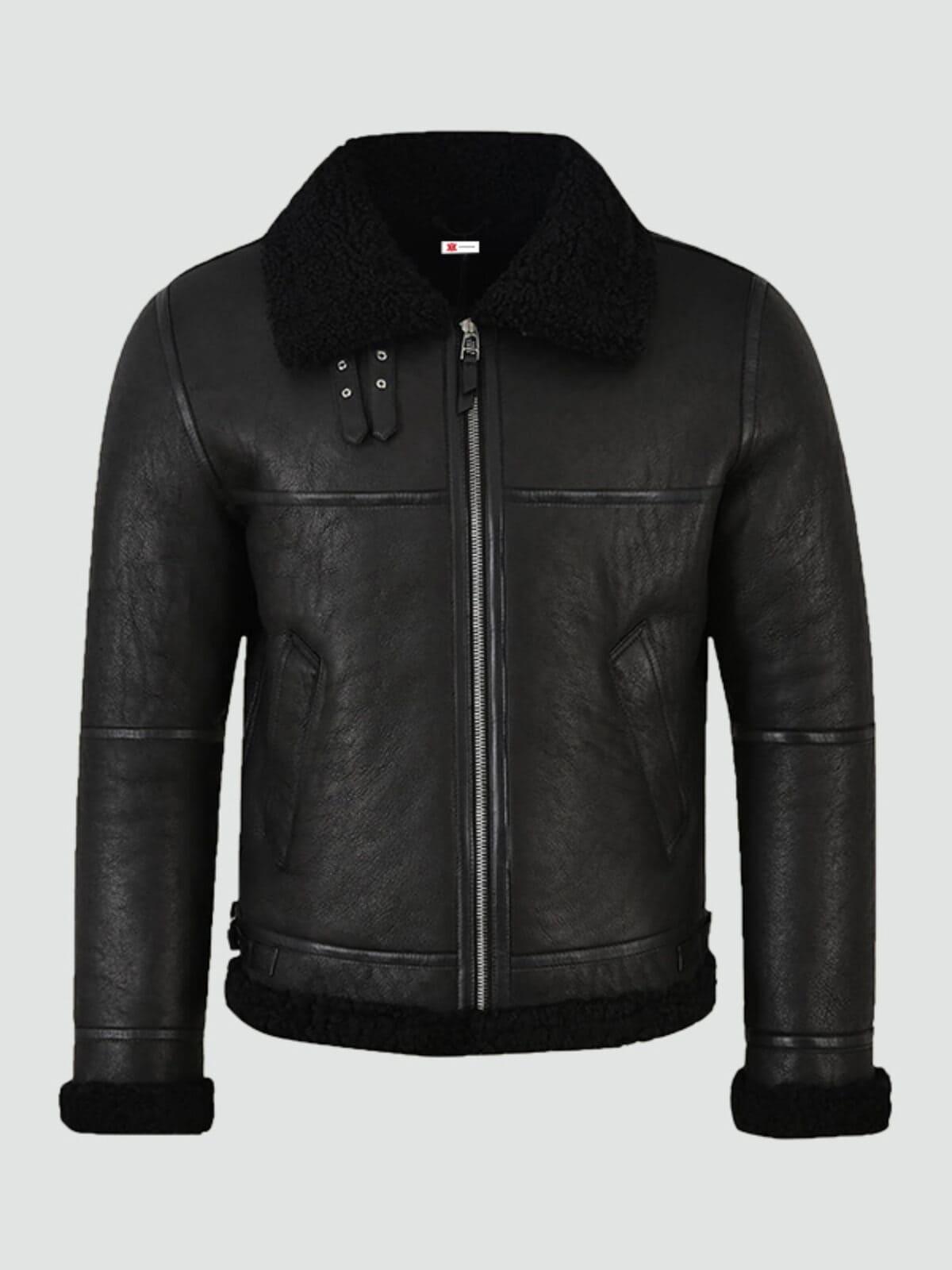Mens Jet Black Shearling Jacket