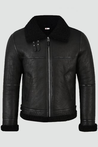 Mens Jet Black Shearling Jacket