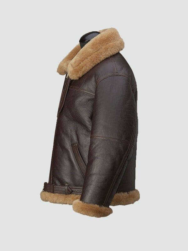 Mens RAF Brown Shearling Leather Jacket