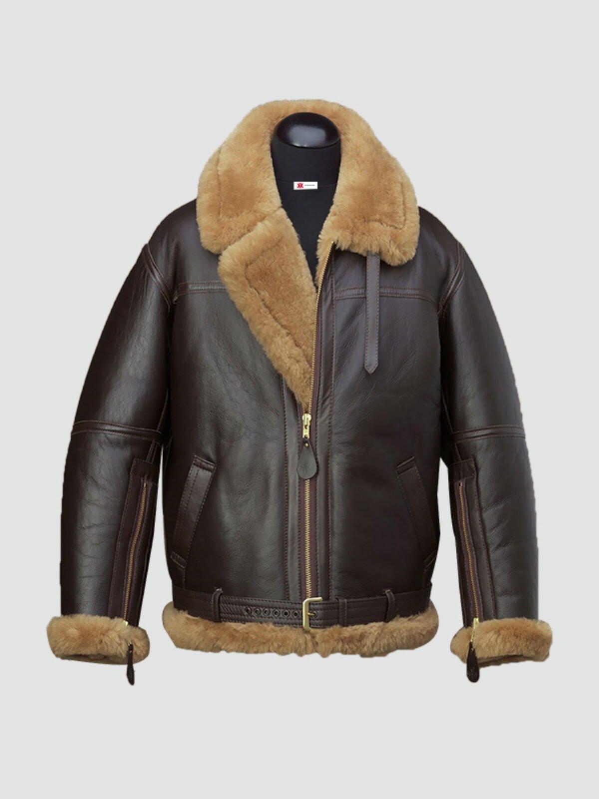 Mens RAF Shearling Leather Jacket
