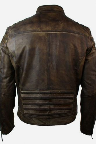 Mens Retro Vintage Distressed Brown Biker Leather Jacket