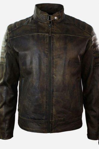 Mens Retro Vintage Distressed Real Biker Leather Jacket