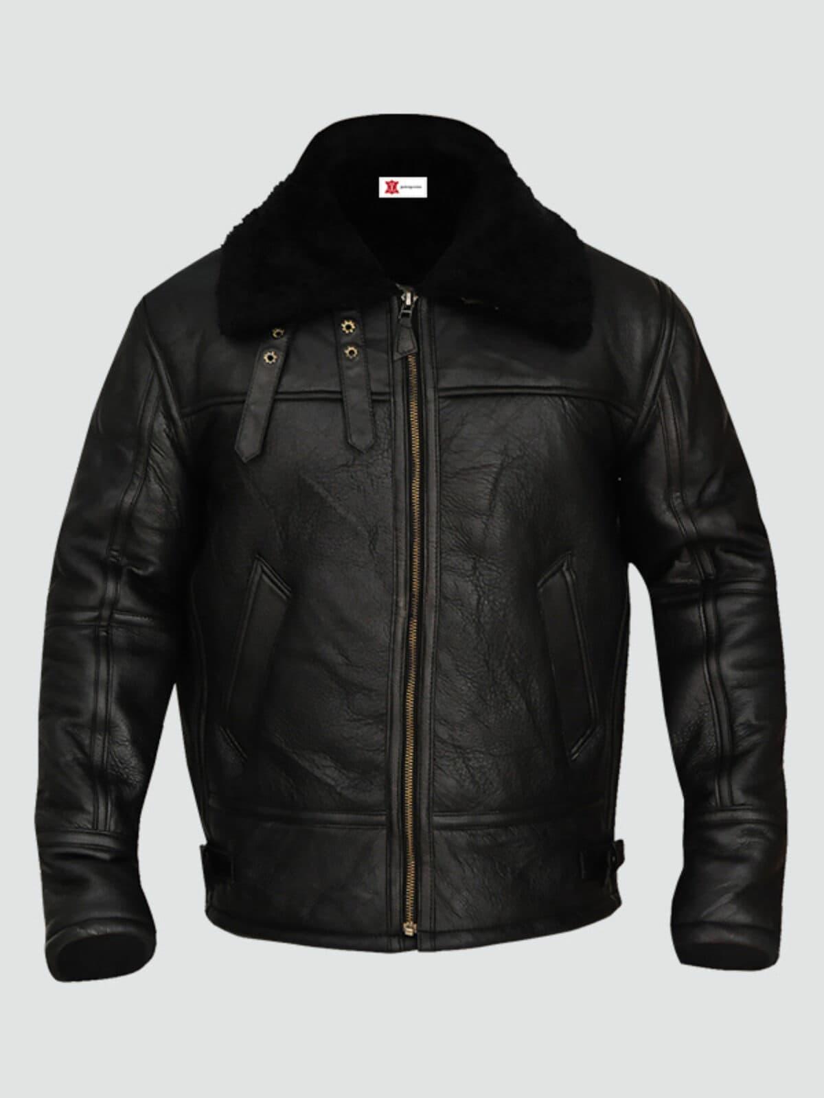 Mens Sheepskin Bomber Leather Jacket