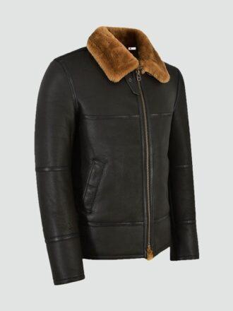 Mens Traditional Brown Shearling Jacket