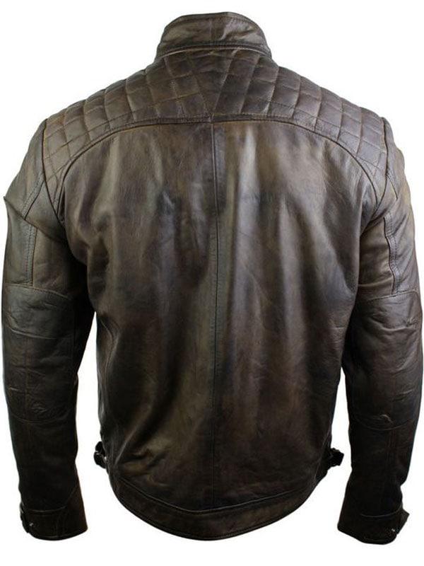 Mens Vintage Brown Leather Biker Jacket